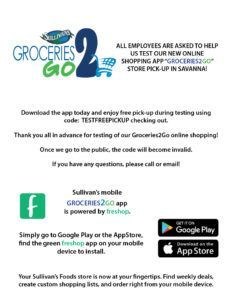 Groceries2Go Flyer to Employees