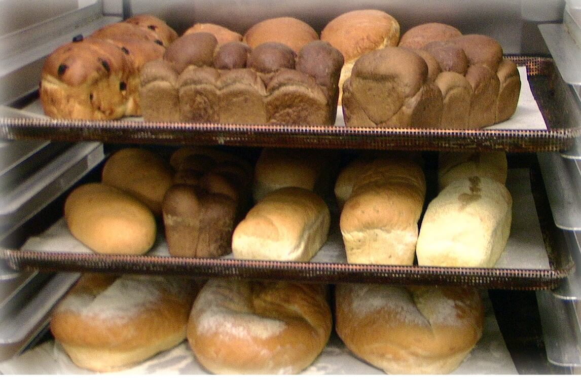 A photo of bread on the shelf