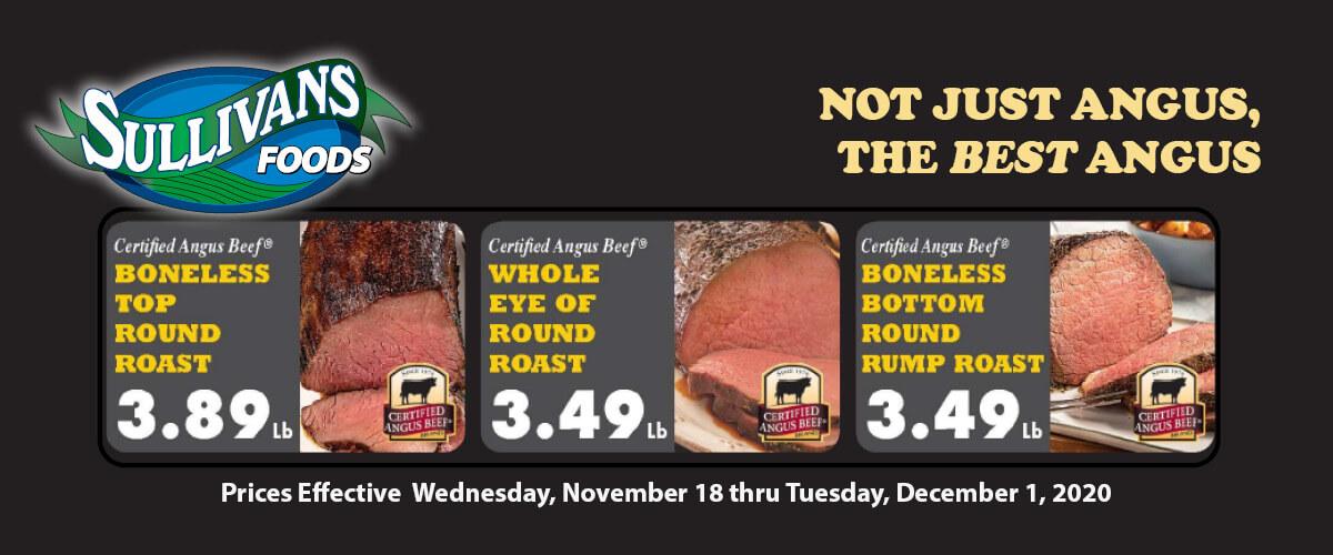 Sullivan's Foods Certified Angus Beef Specials Nov 18-Dec 1, 2020