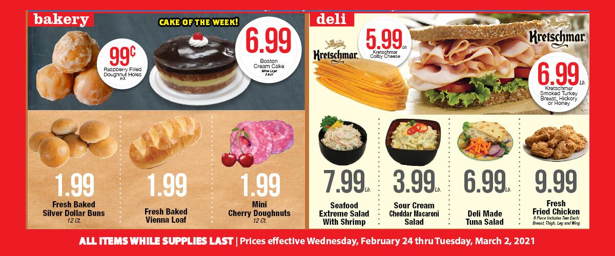 Sullivan's Foods Deli Bakery specials Feb 24-Mar 2, 2021