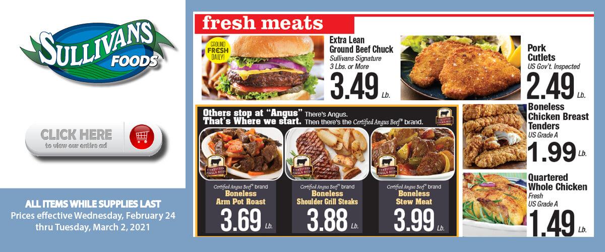 Sullivan's Foods Meat specials Feb 24-Mar 2, 2021