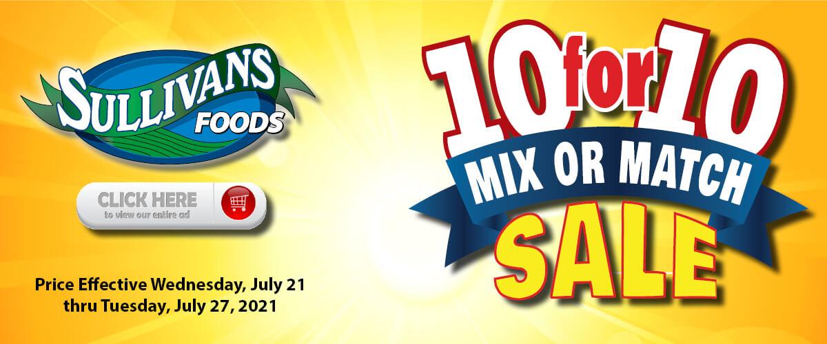 Sullivan's Foods 10 for 10 Sale Jul 21-27, 2021