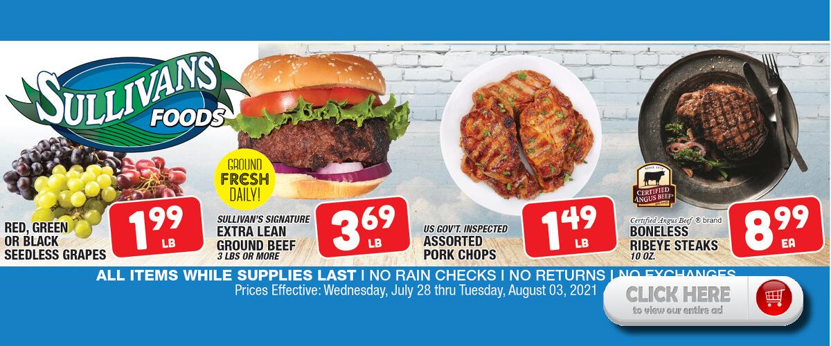 Sullivan's Foods Summer Savings Jul 28-Aug 3, 2021